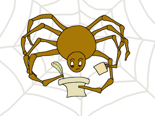 A spider in it's web holding a coffee mug with one leg, a quill in another, and a scroll in a third.