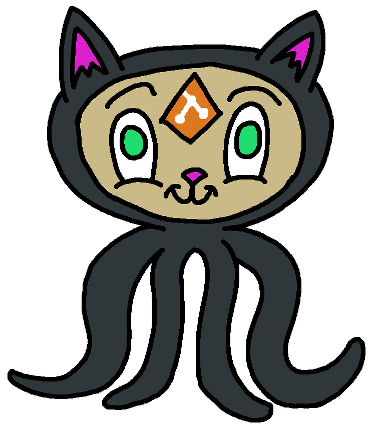 Hand-drawn octo-cat with a git logo on it's forhead