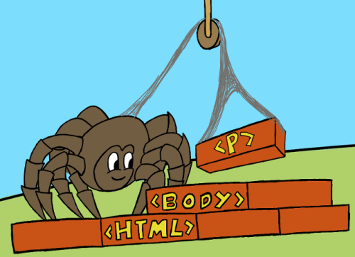 A cartoon spider is using a web line and pulley to build a brick wall. Some of the bricks show html markup.